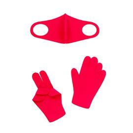 Набор детский - маска, перчатки (6-12 лет), красный, Тип товара: Защитный набор, Цвет маски: Красная, фото
