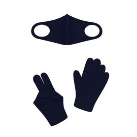 Набор детский - маска, перчатки (6-12 лет), черный, Тип товара: Защитный набор, Цвет маски: Чёрная, фото