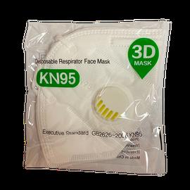 Маска защитная (респиратор) 3D MASK (Стандарт GB2626-2006 KN95) с клапаном защиты, 5 слоев, 2 шт./уп., фото , изображение 3