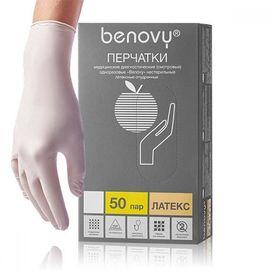 Перчатки латексные неопудренные текстурированные BENOVY, L, 50 пар./100 шт., фото
