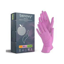 Перчатки одноразовые нитриловые Benovy розовые L, 50 пар./100 шт., фото