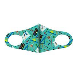 Детская текстильная маска (школьная пора), С рисунком: с принтом, Размер: детский (6-12 лет), Цвет маски: Зелёная, Тип товара: Многоразовая маска, фото