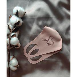 Тканевая маска со стразами, розовая, С рисунком: без принта, Размер: S-M (окружность 48-55), Цвет маски: Розовая, Цвет страз: Белый, Тип товара: Многоразовая маска, фото