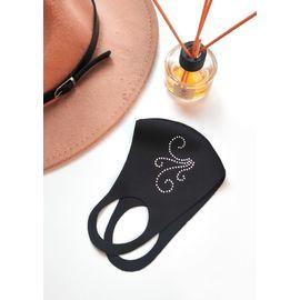 Тканевая маска со стразами, чёрная, С рисунком: Нет, Размер: S-M (окружность 48-55), Цвет маски: Чёрная, Цвет страз: Белый, Тип товара: Многоразовая маска, фото