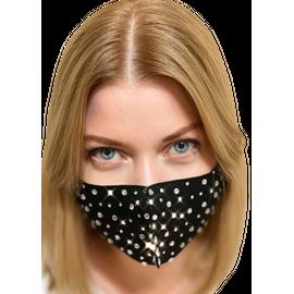 Маска защитная со стразами многоразовая, черная, С рисунком: без принта, Размер: S-M (окружность 48-55), Цвет маски: Чёрная, Цвет страз: Белый, Тип товара: Многоразовая маска, фото