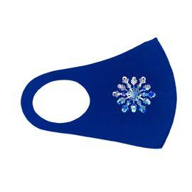 Маска детская многоразовая синяя с новогодним принтом СНЕЖИНКА, фото , изображение 2