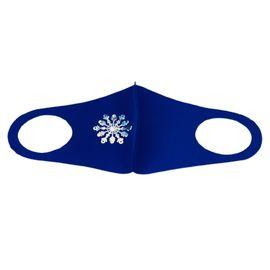 Маска детская многоразовая синяя с новогодним принтом СНЕЖИНКА, фото , изображение 5
