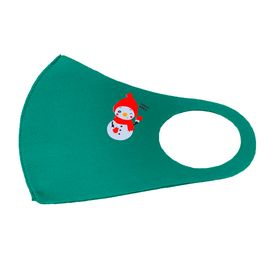 Маска многоразовая защитная зелёная с новогодним принтом СНЕГОВИК, С рисунком: Да, Размер: S-M (окружность 48-55), Цвет маски: Зелёная, Тип товара: Многоразовая маска, фото , изображение 2
