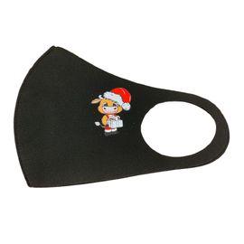 Маска многоразовая защитная чёрная с новогодним принтом БЫЧОК, С рисунком: Да, Размер: S-M (окружность 48-55), Цвет маски: Чёрная, Тип товара: Многоразовая маска, фото , изображение 2