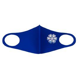 Маска детская многоразовая синяя с новогодним принтом СНЕЖИНКА, фото , изображение 4