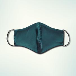 Маска защитная из шелка на резинках, изумрудная, фото