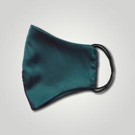 Маска защитная из шелка на резинках, изумрудная, фото , изображение 2