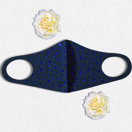 Маска защитная с синими стразами многоразовая, черная, С рисунком: Нет, Размер: S-M (окружность 48-55), Цвет маски: Чёрная, Цвет страз: Синий, Тип товара: Многоразовая маска, фото