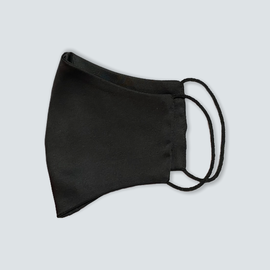 Маска защитная из шелка на резинках, черная, фото , изображение 2