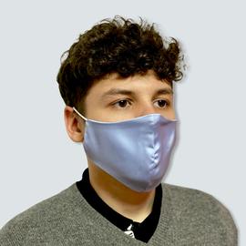 Маска защитная из шелка на резинках, голубая, фото , изображение 2