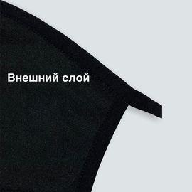Маска многоразовая защитная тканевая, чёрная БЕЗ ШВА, фото , изображение 5