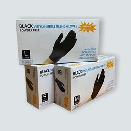 Перчатки одноразовые (черные), винило-нитриловые, размер L, 100шт/50 пар, Размер: L, Цвет перчаток: Черный, Тип товара: Одноразовые перчатки, фото , изображение 3