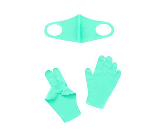 Набор детский - маска, перчатки (6-12 лет), бирюзовый, Тип товара: Защитный набор, Цвет маски: Бирюзовая, фото