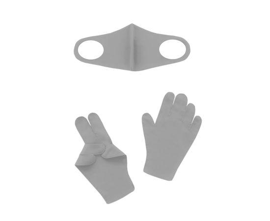 Набор детский - маска, перчатки (6-12 лет), светло-серый, Тип товара: Защитный набор, Цвет маски: Светло-серая, фото