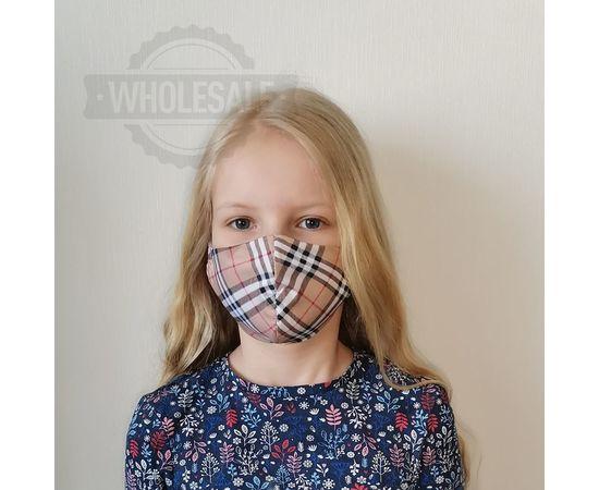 Многоразовая маска ДЕТСКАЯ из 100% хлопка бежевая клетка, фото