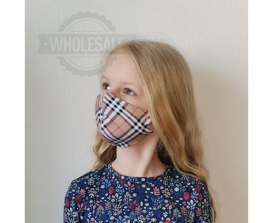 Многоразовая маска ДЕТСКАЯ из 100% хлопка бежевая клетка, фото , изображение 2