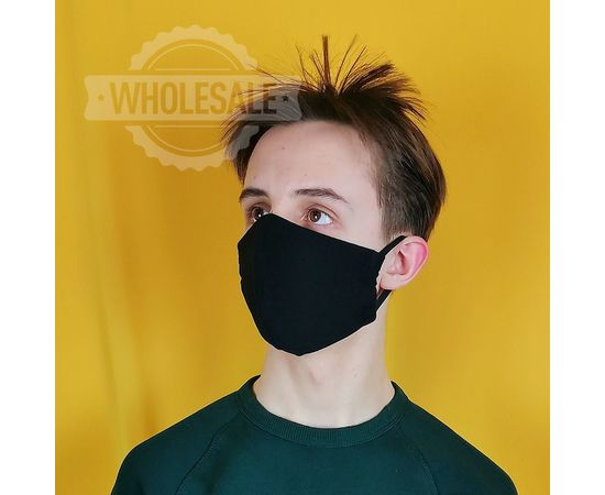 Маска многоразовая для лица из 100% хлопка чёрная, фото , изображение 2