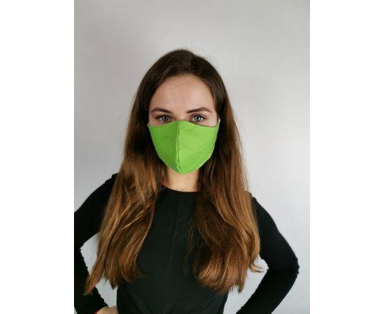 Маска многоразовая для лица из 100% хлопка зеленая, фото 1