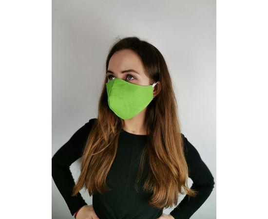 Маска многоразовая для лица из 100% хлопка зеленая, фото 2