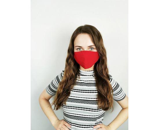 Маска многоразовая для лица из 100% хлопка красная, фото