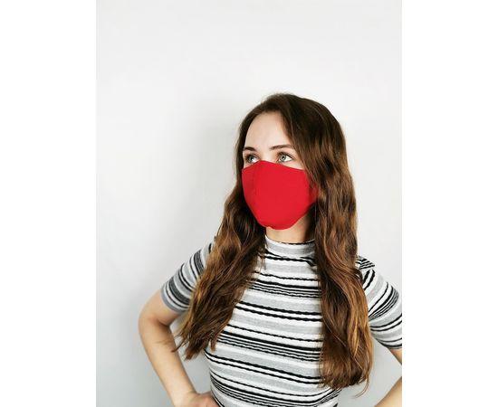 Маска многоразовая для лица из 100% хлопка красная, фото , изображение 2