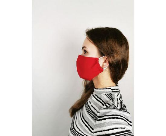 Маска многоразовая для лица из 100% хлопка красная, фото , изображение 3