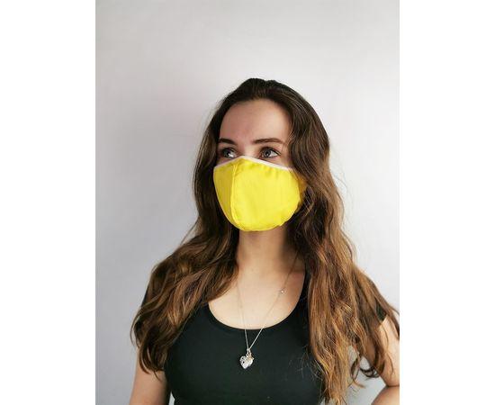 Маска многоразовая для лица из 100% хлопка жёлтая, фото , изображение 2