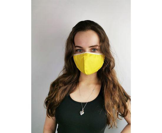 Маска многоразовая для лица из 100% хлопка жёлтая, фото