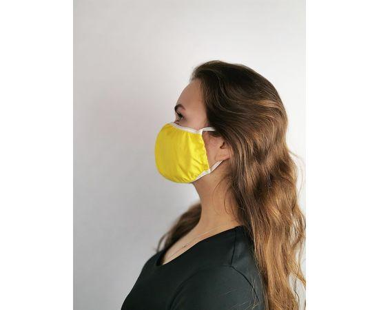 Маска многоразовая для лица из 100% хлопка жёлтая, фото , изображение 3