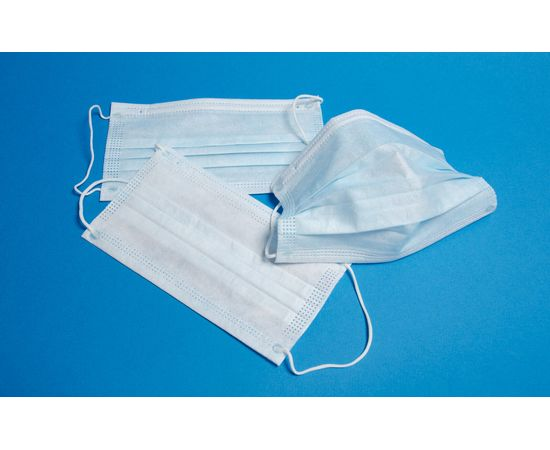 Маска трехслойная медицинская на резинке (100 шт в п/э упаковке), фото