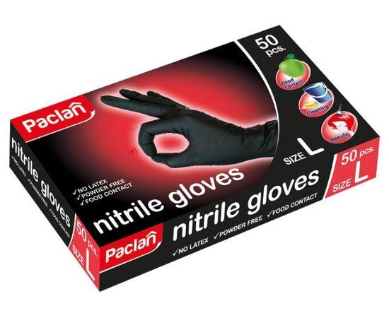 Перчатки одноразовые нитриловые Paclan PCL407790, размер L, черные (25 пар), фото