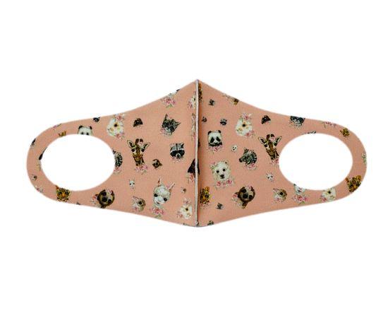 Детская текстильная маска (животный мир), С рисунком: с принтом, Размер: детский (6-12 лет), Цвет маски: Бежевая, Тип товара: Многоразовая маска, фото