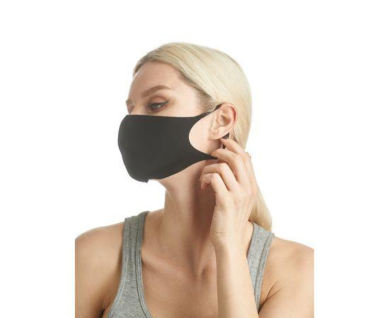 Маска из неопрена многоразовая с логотипом, черная, размер S-M (1 шт.), С рисунком: Да, Размер: S-M (окружность 48-55), Цвет маски: Чёрная, Тип товара: Многоразовая маска, фото , изображение 2