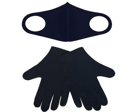 Набор защитный - маска и перчатки, универсальный размер, черный, фото 1