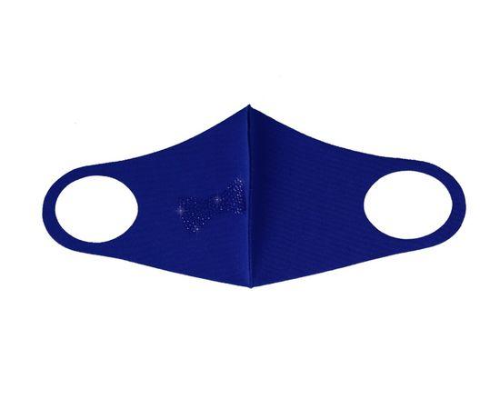 Тканевая маска со стразами, синяя, С рисунком: без принта, Размер: S-M (окружность 48-55), Цвет маски: Синяя, Цвет страз: Синий, Тип товара: Многоразовая маска, фото , изображение 2