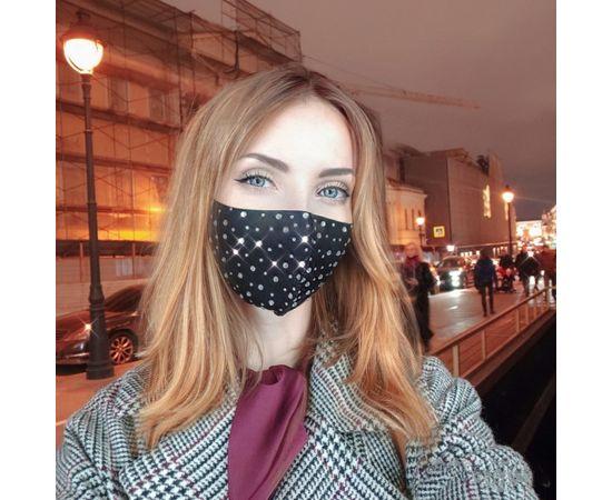 Маска защитная со стразами многоразовая, черная, С рисунком: без принта, Размер: S-M (окружность 48-55), Цвет маски: Чёрная, Цвет страз: Белый, Тип товара: Многоразовая маска, фото , изображение 5