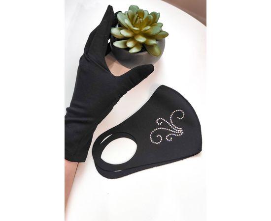 Тканевая маска со стразами, чёрная, фото 4