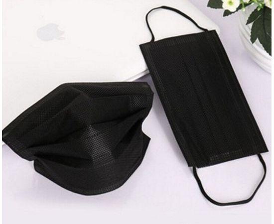 Маска одноразовая чёрная трехслойная на резинке 50 шт. с РУ, фото , изображение 3