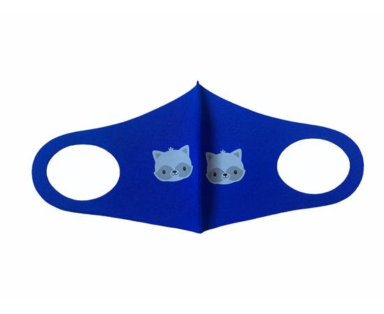 Детская многоразовая маска с принтом, синяя, С рисунком: с принтом, Размер: детский (6-12 лет), Цвет маски: Синяя, Тип товара: Многоразовая маска, фото