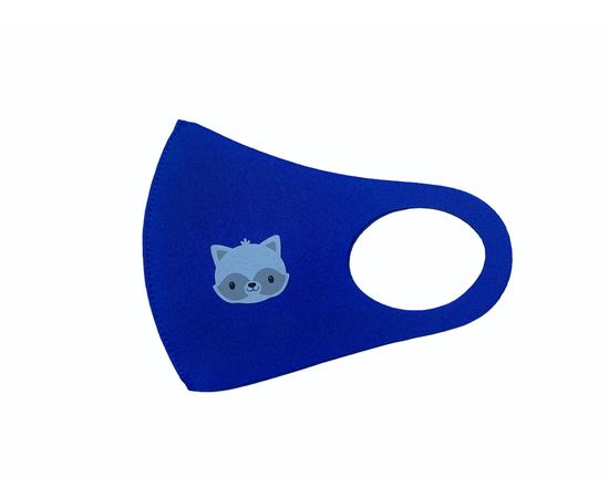 Детская многоразовая маска с принтом, синяя, С рисунком: с принтом, Размер: детский (6-12 лет), Цвет маски: Синяя, Тип товара: Многоразовая маска, фото , изображение 2