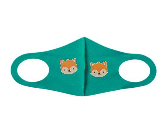 Детская многоразовая маска с принтом, зеленая, С рисунком: с принтом, Размер: детский (6-12 лет), Цвет маски: Зелёная, Тип товара: Многоразовая маска, фото