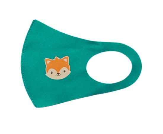 Детская многоразовая маска с принтом, зеленая, С рисунком: с принтом, Размер: детский (6-12 лет), Цвет маски: Зелёная, Тип товара: Многоразовая маска, фото , изображение 2