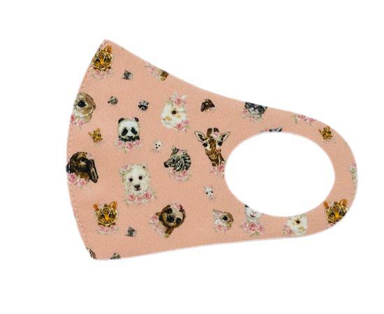 Детская текстильная маска (животный мир), С рисунком: с принтом, Размер: детский (6-12 лет), Цвет маски: Бежевая, Тип товара: Многоразовая маска, фото , изображение 2