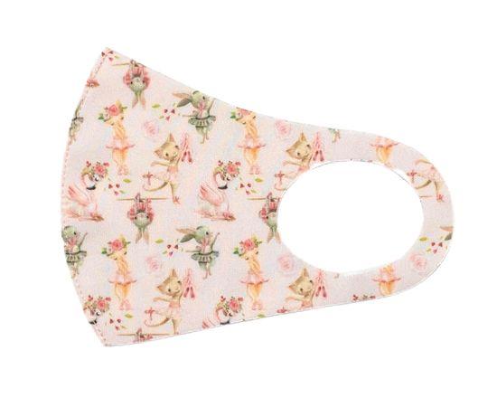 Детская текстильная маска (розовая мечта), С рисунком: с принтом, Размер: детский (6-12 лет), Цвет маски: Розовая, Тип товара: Многоразовая маска, фото , изображение 2