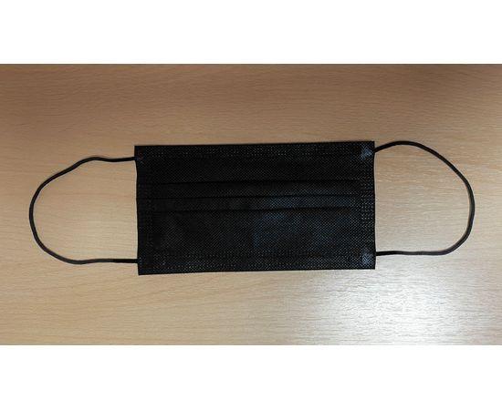 Маска одноразовая чёрная трехслойная на резинке 50 шт. с РУ, фото , изображение 4